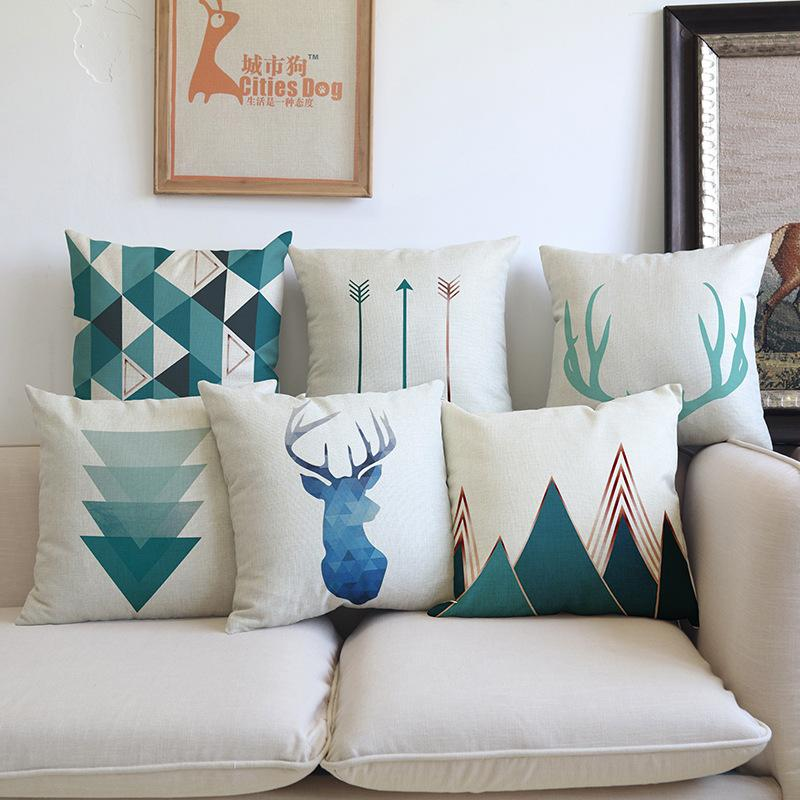 Anipopy Set of 6 Nordic Geometric Deer Throw Sofa Pillow Case Cushion Cover Linen Cotton 45cm*45cm Blue