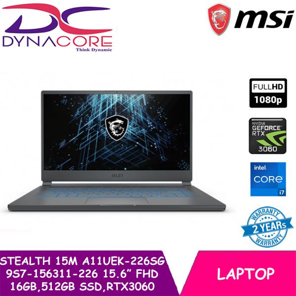 DYNACORE - MSI Stealth 15M A11UEK-226SG 9S7-156311-226 15.6 FHD (i7-11375H   16GB RAM   512GB SSD   NVIDIA RTX 3060   WIN 10 HOME)