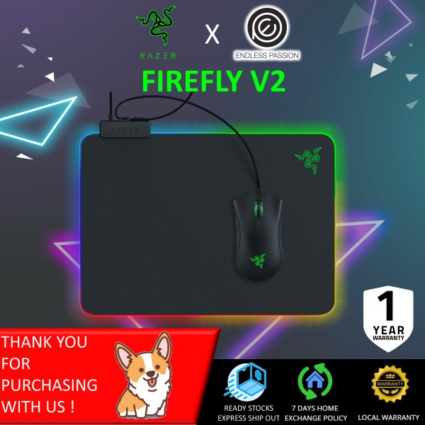Razer Firefly Hard V2 RGB Gaming Mouse Pad: Customizable Chroma Lighting - Built-in Cable Management - Balanced Control & Speed - Non-Slip Rubber Base