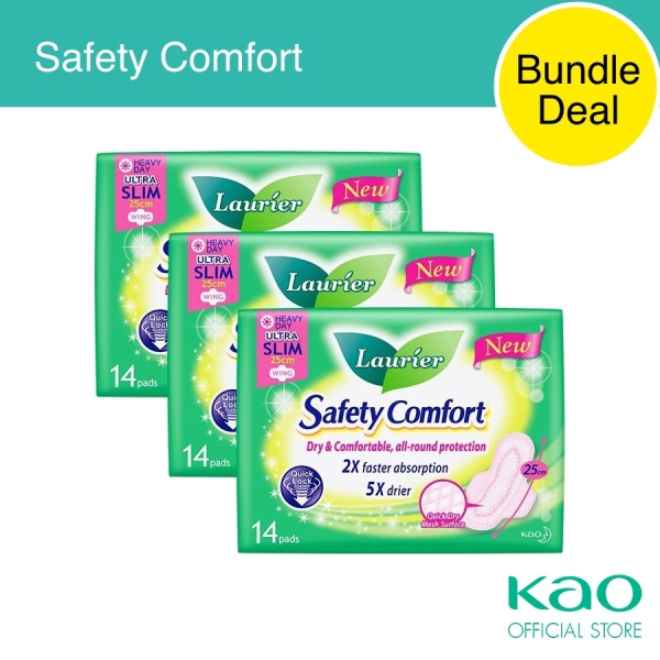 Buy Laurier Safety Comfort Day Ultra Slim Wings 25cm 14pcs Triple Pack Singapore