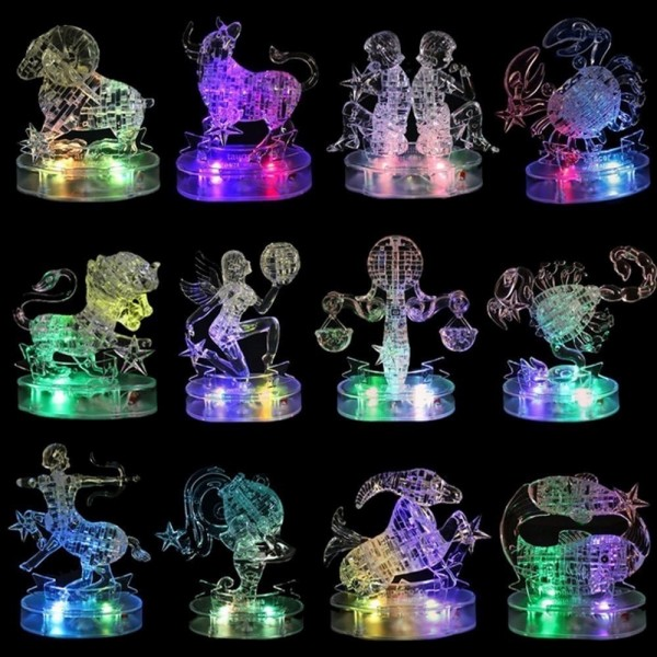 3D Crystal Puzzle with Flash Light Kids Educational Toys