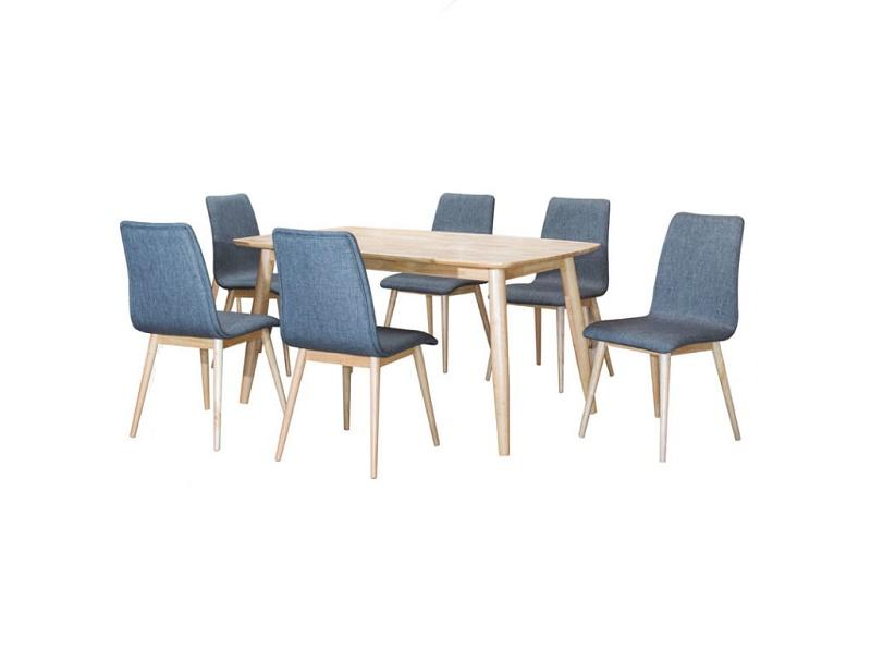 FULL SOLID WOOD HAY 1 DINING TABLE + 6 CUSHION CHAIR DINING SET / BREAKFAST / LUNCH / DINNER SET L1500MM X W900MM X H750MM