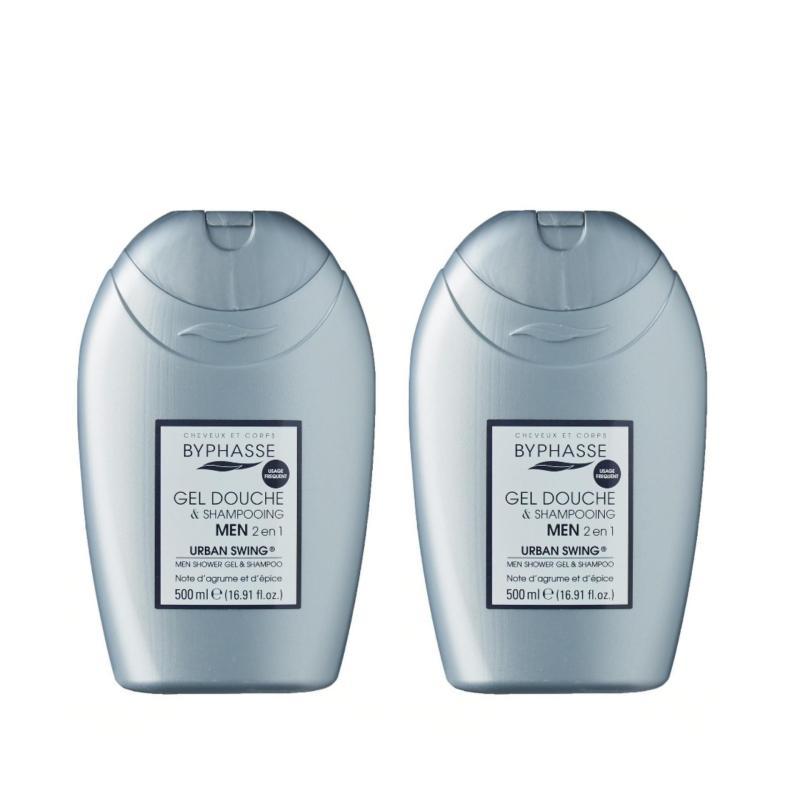 Buy BYPHASSE 2 IN 1 MEN SHOWER GEL & SHAMPOO URBAN SWING 500ML x 2 bottles Singapore