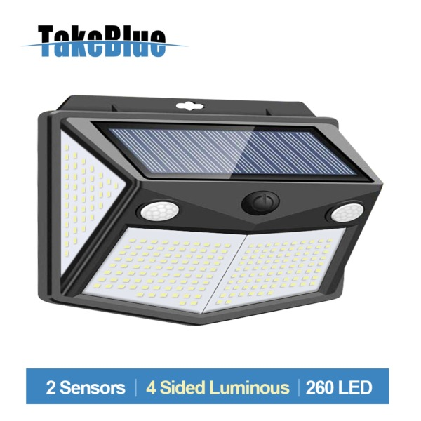 TakeBlue Solar Led Outdoor Garden Light 2 Sensor 3 Modes 260 Led Wide Angle 4 Sided Luminous Waterproof Solar Panel