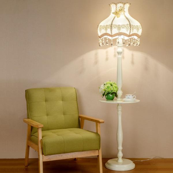 European Style Floor Lamp Teapoy Table Living Room Bedroom Jane European Fashion Retro Creative Wooden Garden Lace Wedding Vertical Type Lamp