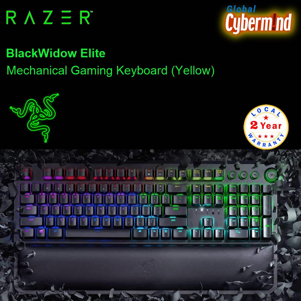 RAZER BLACKWIDOW ELITE Mechanical Gaming Keyboard ( Yellow Switch,  Linear and Silent ) ( Brought to you by Cybermind ) Singapore