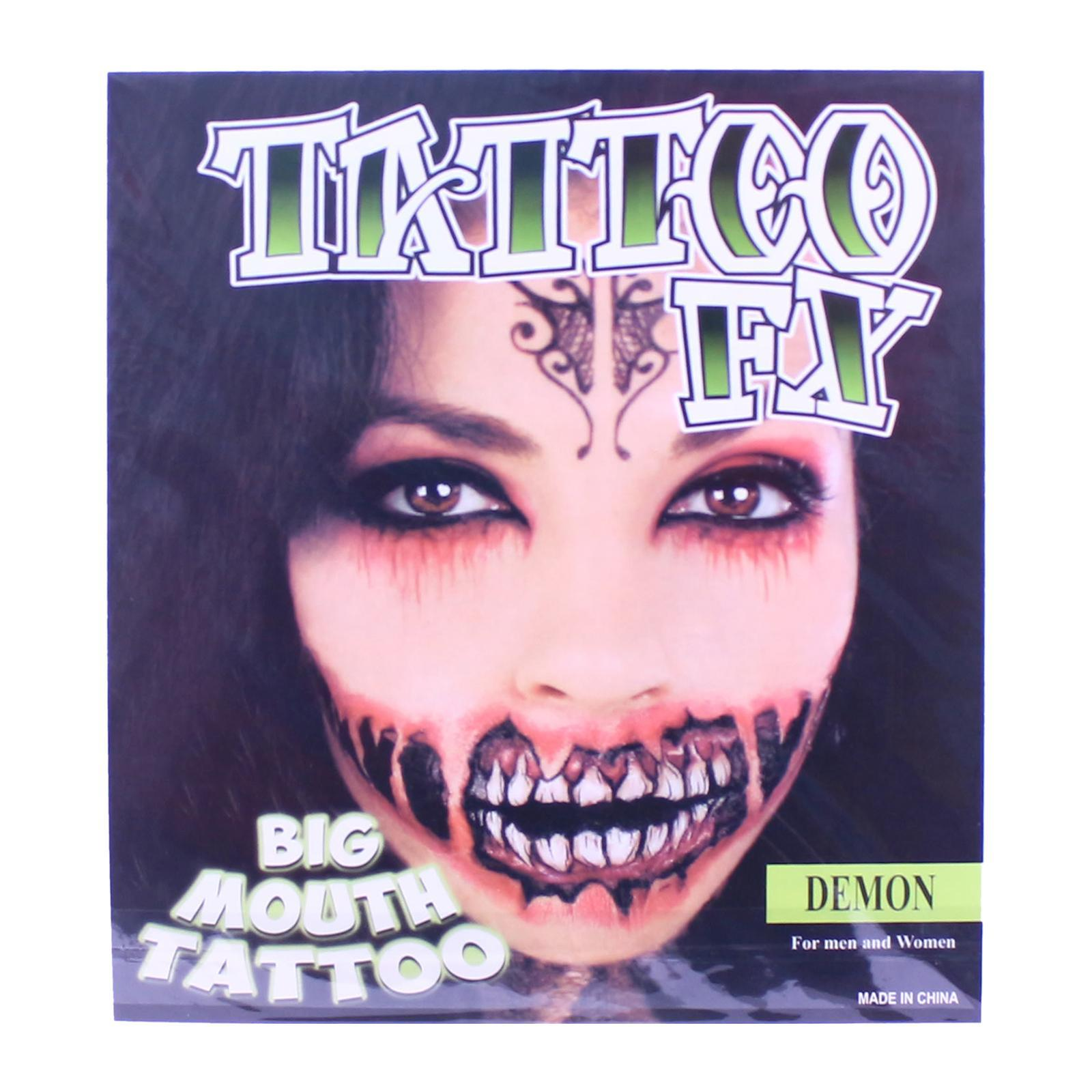 Partyforte Halloween Temporary Tattoo Body Tattoo Face Tattoo - Big Mouth
