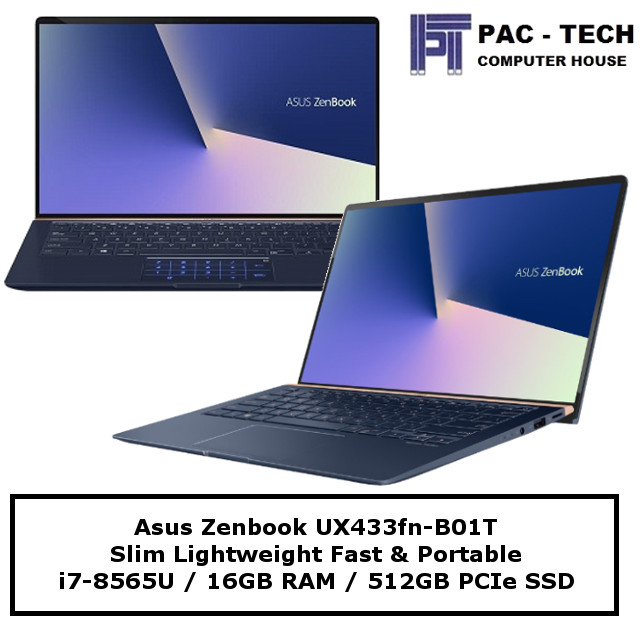 Asus Zenbook 14 UX433FN-B01T / i7-8565U / 16GB RAM / 512GB SSD / MX150 (2GB) / 2 Years Warranty