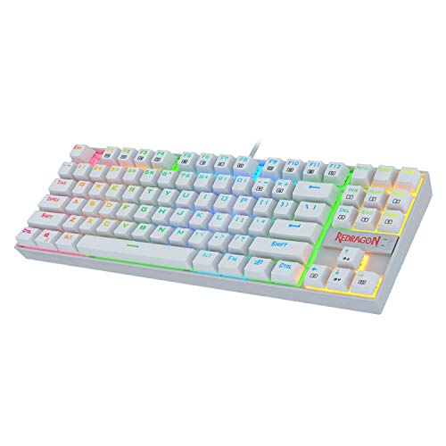 Redragon K552W-RGB 60% Mechanical Gaming Keyboard Compact 87 Key Mechanical Computer Keyboard KUMARA USB Wired Cherry MX Blue Equivalent Switches for Windows PC Gamers (White RGB Backlit) Singapore