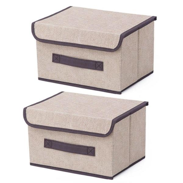 Storage Boxes 2-pack Non-woven Cloth Organizer Boxes Containers Drawers with Lid for Clothes/blanket/books/toys/magazines,1#