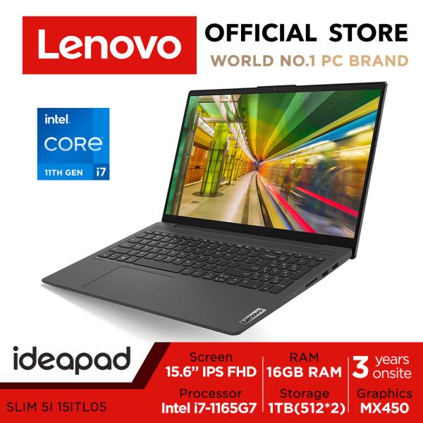 Lenovo Ideapad Slim 5i | 82FG001MSB | 15.6 FHD IPS 300nits | 11th Gen i7-1165G7 | 16GB RAM | MX450-DDR6 Graphics | 3Years Onsite warranty