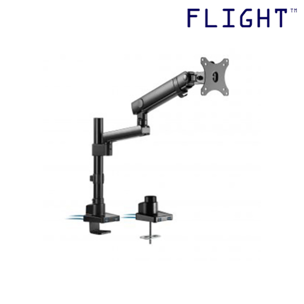 [HOT SELLING] LCD Single Monitor Arm, Dynamic Spring Mechanism and Non-Gas Spring, International Vesa Compatible, 0-8kg, Cable Management Included, 180 Degree Monitor Rotation - L2-202U - Flight