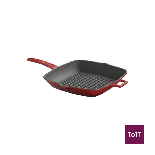 Lava Cast Iron 26cm Sq Grill Pan Red Singapore
