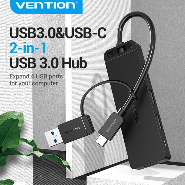 Vention USB 3.0 Hub USB 3.0 And USB Type C 2 in 1 USB Hub Expand 4 USB Ports For Laptop Computer Hard Drive U disk Cellphone USB 3.0 Hub