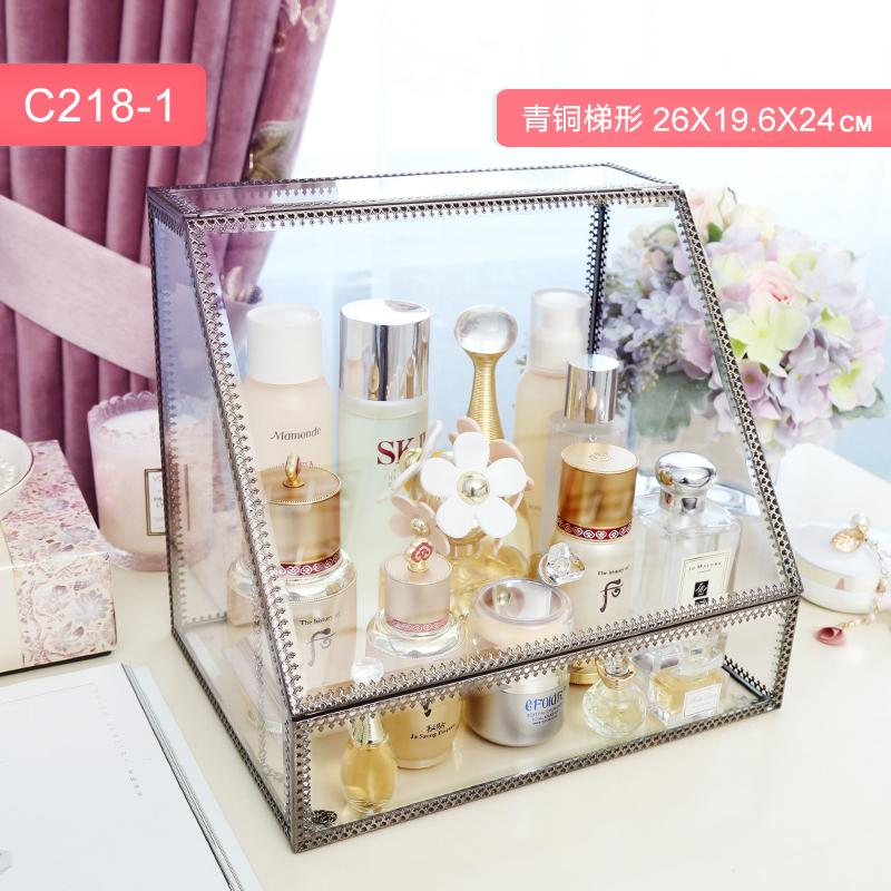 Online Celebrity Glass Makeup Storage Box Household Non-Acrylic Lipstick Skin Care Brush Jewelry Dresser Storage Shelf