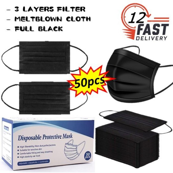 Buy 【Ready stock】3layers full black Disposable face mask Singapore