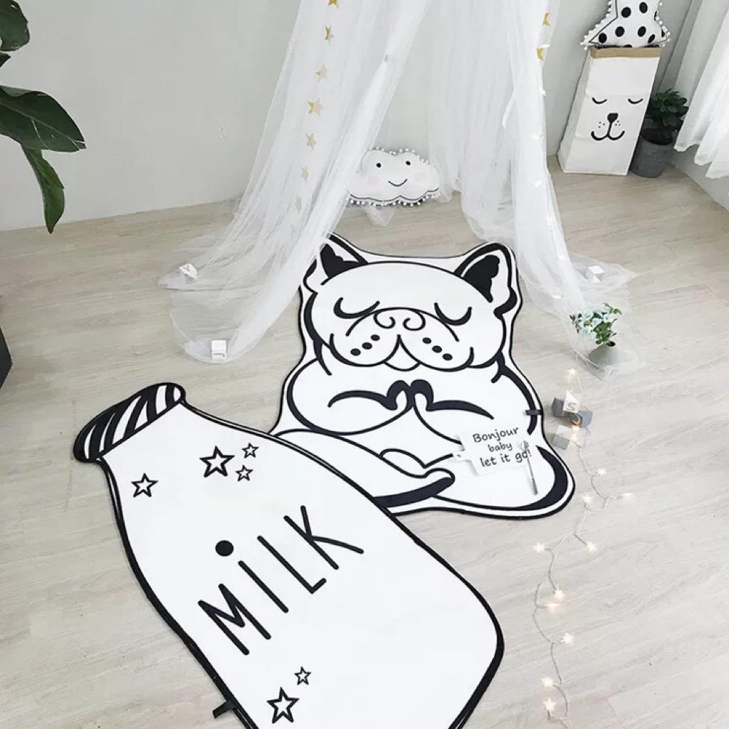 Nordic Kids / Children playroom floor mat / playmat BIG Cute milk bottle / dog yoga