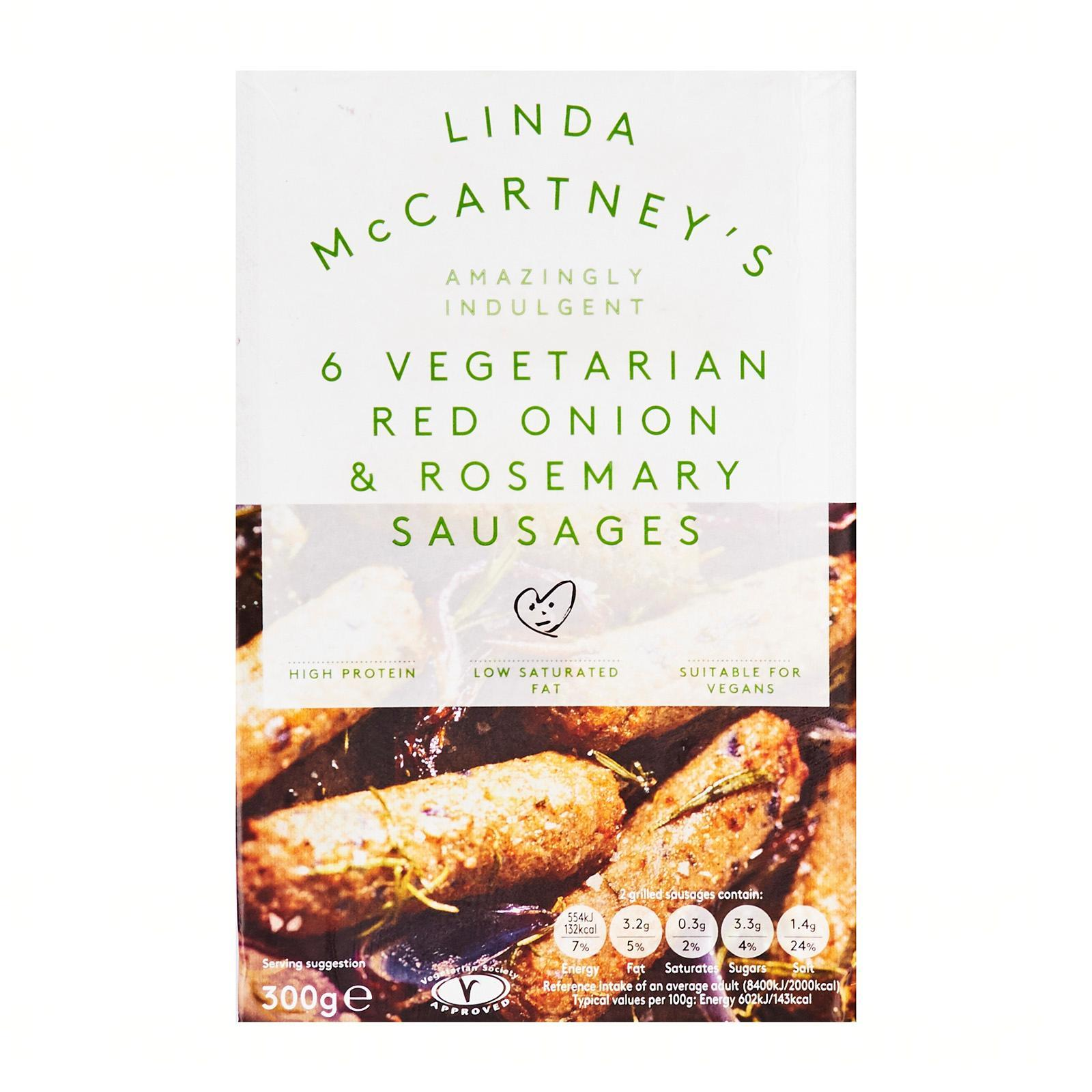 Linda McCartney's 6 Vegetarian Red Onion And Rosemary Sausages - Frozen