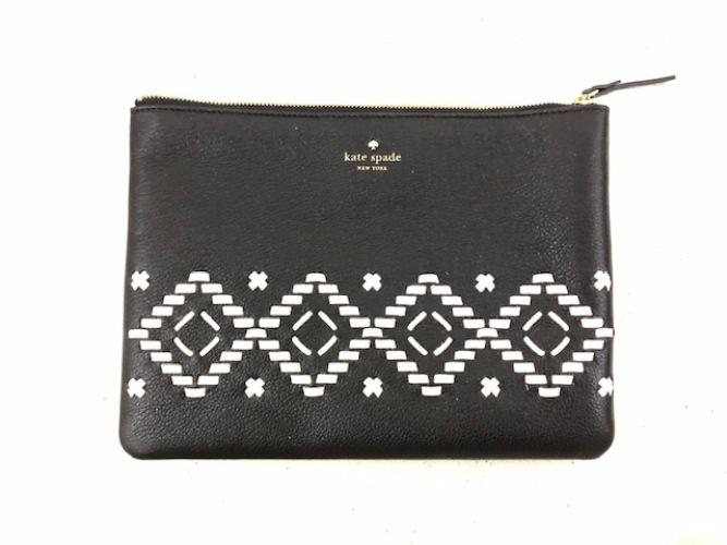 Kate Spade Gia Flynn Street Black Leather Clutch