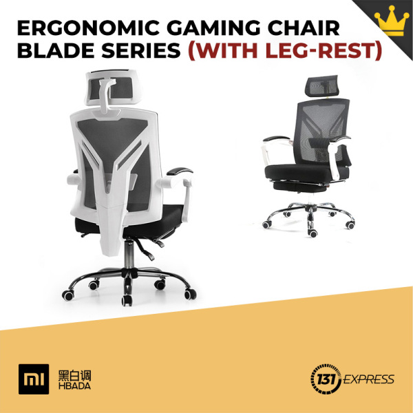 Xiaomi Hbada Ergonomic Gaming Chair Blade Series [ 2 Models, 155° Reclining, Headrest, Lumbar Support, Linkage Armrest, Foot, Leg-rest, Breathable, Mesh, 8cm Sponge, Low Noise, Soft, Comfortable, Skin-Friendly, SGS Gas Lift, Durable, Sturdy, Steel Base ]