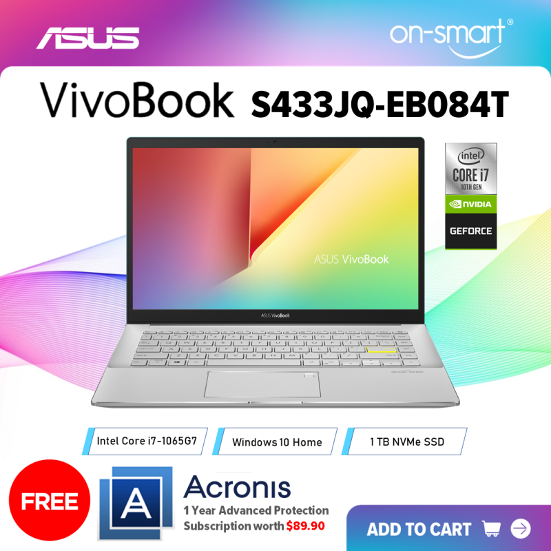 【Next Day Delivery】ASUS VivoBook S14 S433JQ-EB084T | Intel Core i7-1065G7 Processor | 8GB RAM | 1TB NVMe PCIe SSD | NVIDIA GeForce MX350 2GB GDDR5 | Windows 10 Home | 2 Years International Warranty | FREE Acronis Subscription | OnSmart
