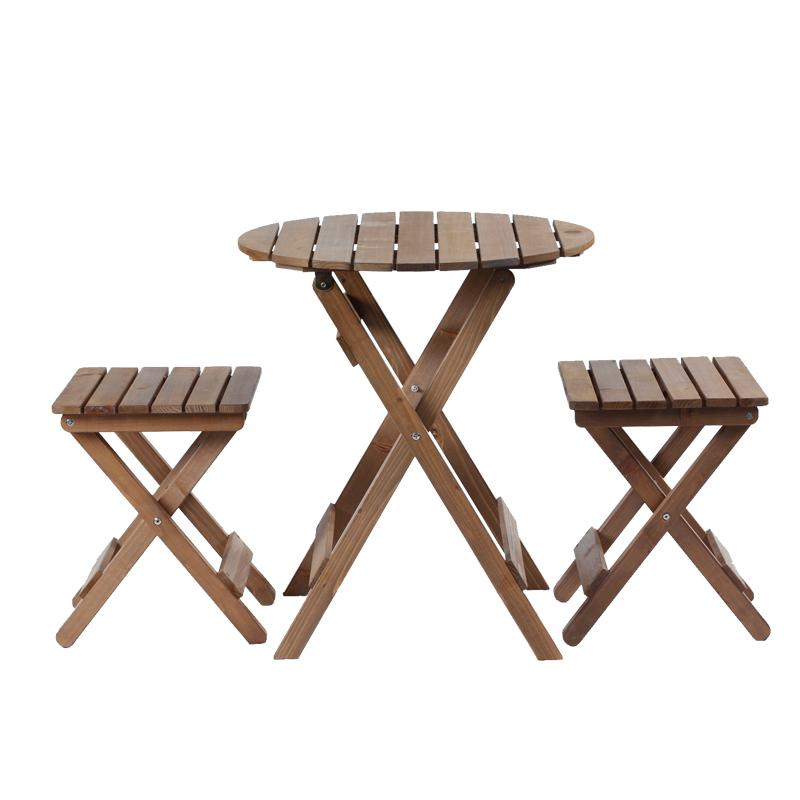 Outdoor Balcony Foldable Folding Round Coffee Tea Table Set with 2 Chairs