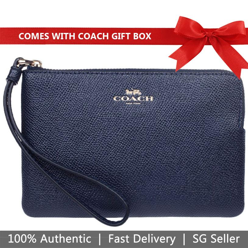 Coach Small Wristlet In Gift Box Corner Zip Wristlet In Crossgrain Leather Midnight Navy Dark Blue / Gold # F58032