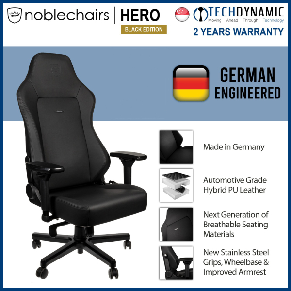 Noble Chairs Gaming Chair Vinyl / PU hybrid leather HERO Series - Black Edition [To be delivered within 1 week from order date]
