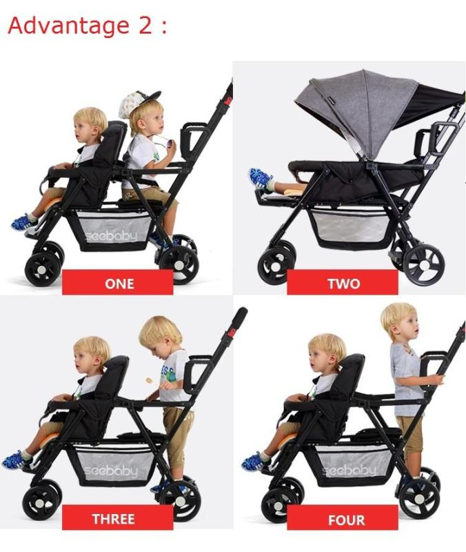 Seebaby Fold Twins Baby Stroller Double Pram Two Seat Can Stand Sit Fit Newborns Baby and Children Carriage Pushchair Load 130kg Singapore
