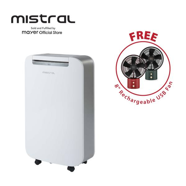 [Special GWP Rechargeable USB Fan] Mistral 20L Dehumidifier with Ionizer and UV Lamp (MDH200)/1-24 hours ON/OFF timer/2 Speeds/ionizer and UV lamp/Up and down auto-oscillation/1year warranty Singapore
