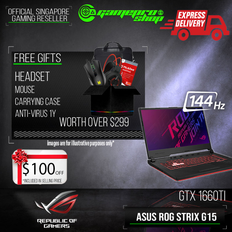 [Express Delivery] ASUS ROG Strix G15 G512LU-1660TI Gaming Laptop (I7-10750H/16GB DDR4/1TB SSD/GTX 1660TI 6GB GDDR6/15.6FHD 144Hz/W10 ) G512LU-GTX1660TI(2Y)