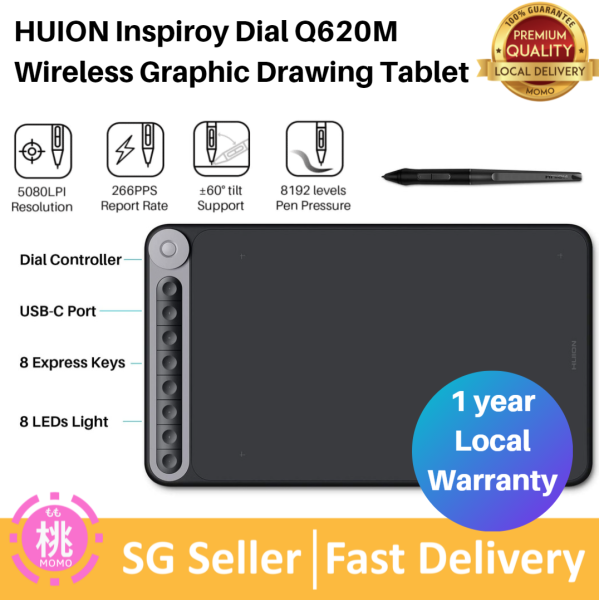 HUION Inspiroy Dial Q620M Wireless Graphic Drawing Tablet 10 x 6 Inch, 8 Press Keys and Dial Controller, Tilt Function, Android Supported, Ideal Use for Distance Education and Wed Conference
