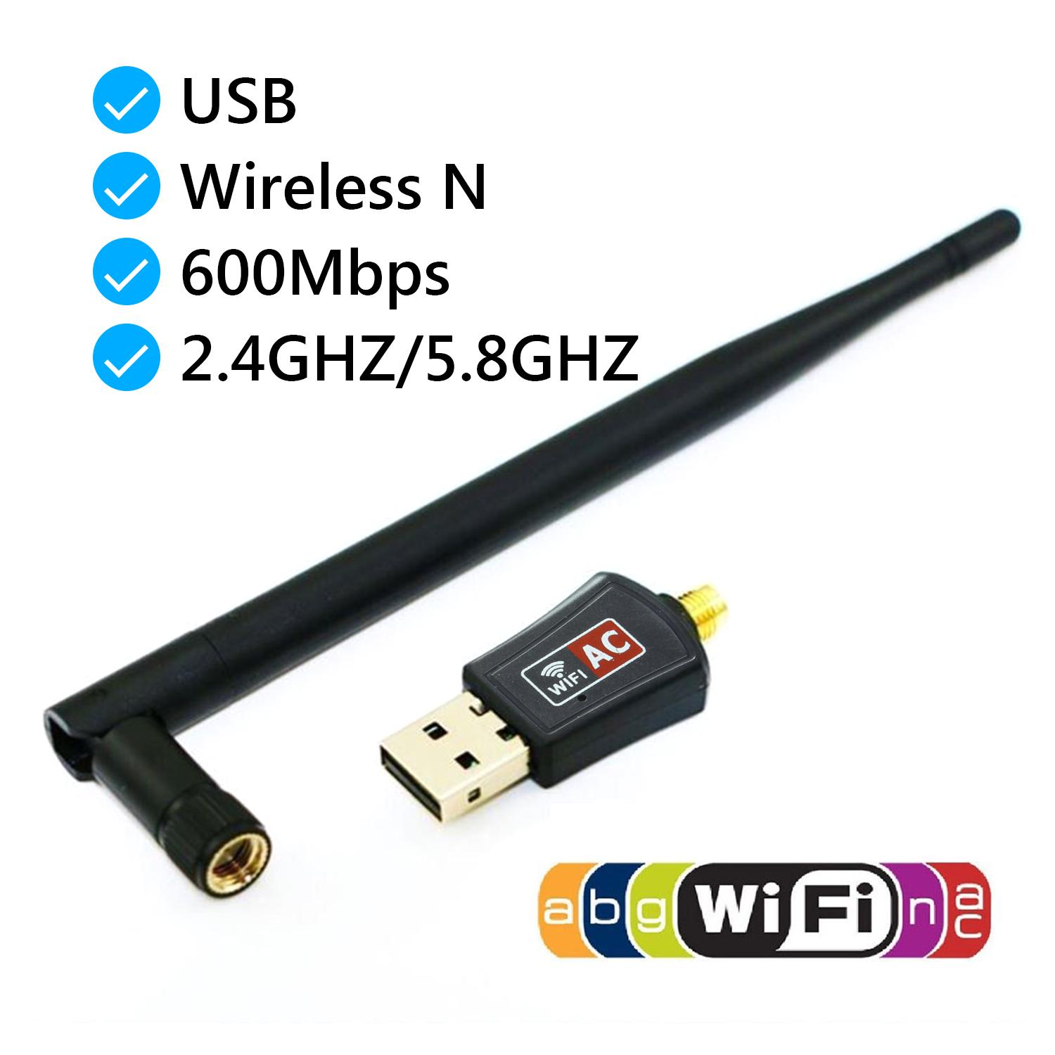 [SG Seller]SAVFY 600Mbps WiFi Adapter Wireless USB PC Dual Band Lan Network  with Antenna 802 11AC for Windows Mac Linux System