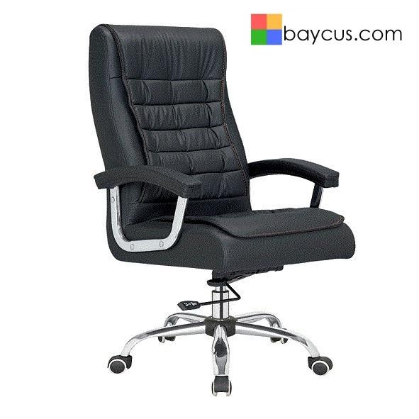 Director Chair with PU Leather Upholstery  BAYCUS Leather Office Chair (PU Leather)  Manager Office Chair with Recliner Mechanism