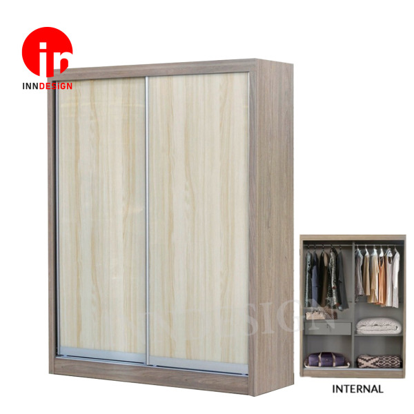 Tiamo Light Teak 5ft Sliding Wardrobe (Free Delivery and Installation)