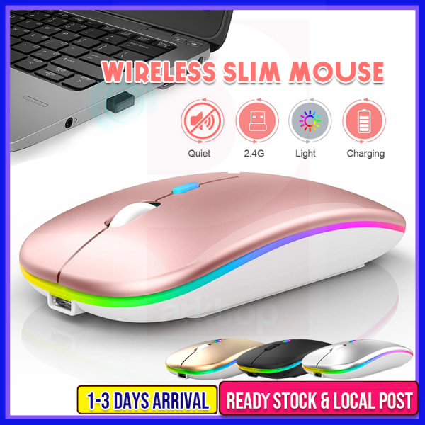 Rechargeable Mouse Wireless Mouse Silent LED Backlit Mice USB Mouse PC Laptop Computer Mouse 2.4Ghz Receiver Optical 無線鼠標