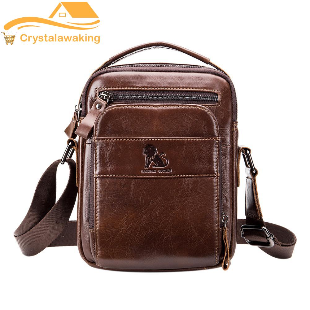 【Crystalawaking】Vintage Genuine Leather Crossbody Solid Color Handbags Men Shoulder Bags