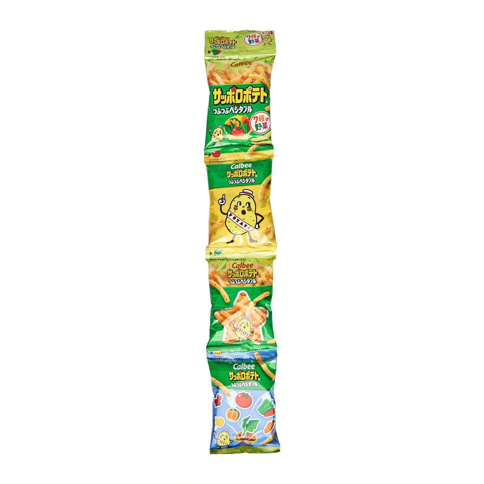 Calbee Japan Sapporo Potato Tsubu Tsubu Vegetable Snack (4 Mini Packs) - Kirei