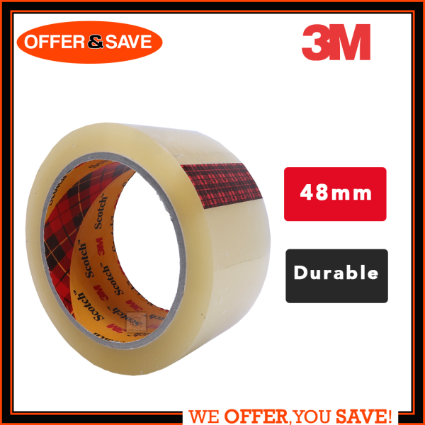 3M Clear Transparent Tape Scotch Tape OPP Tape  [48mmX80m] [1Roll/6Rolls]