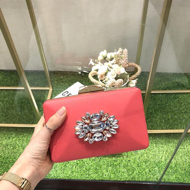 HOLILA banquet clutch bag PU material evening bag crystal diamond party bag  shoulder bag woman purse small handbag Wallets #18412PU Watermelon red