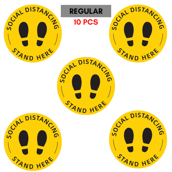 [10 Pcs] 30cm Diameter | Safe Distancing Sticker | Stand Here Floor Sticker | Social Distancing Sticker | Queue Floor Sticker