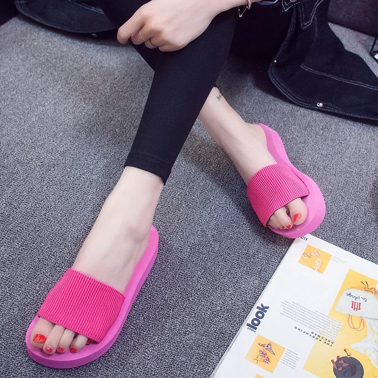 2a27088a8f266 Je 58 Summer Fashion Cold Elastic Single-strap Slipper Slanted Heel Beach 5  Centimeters women