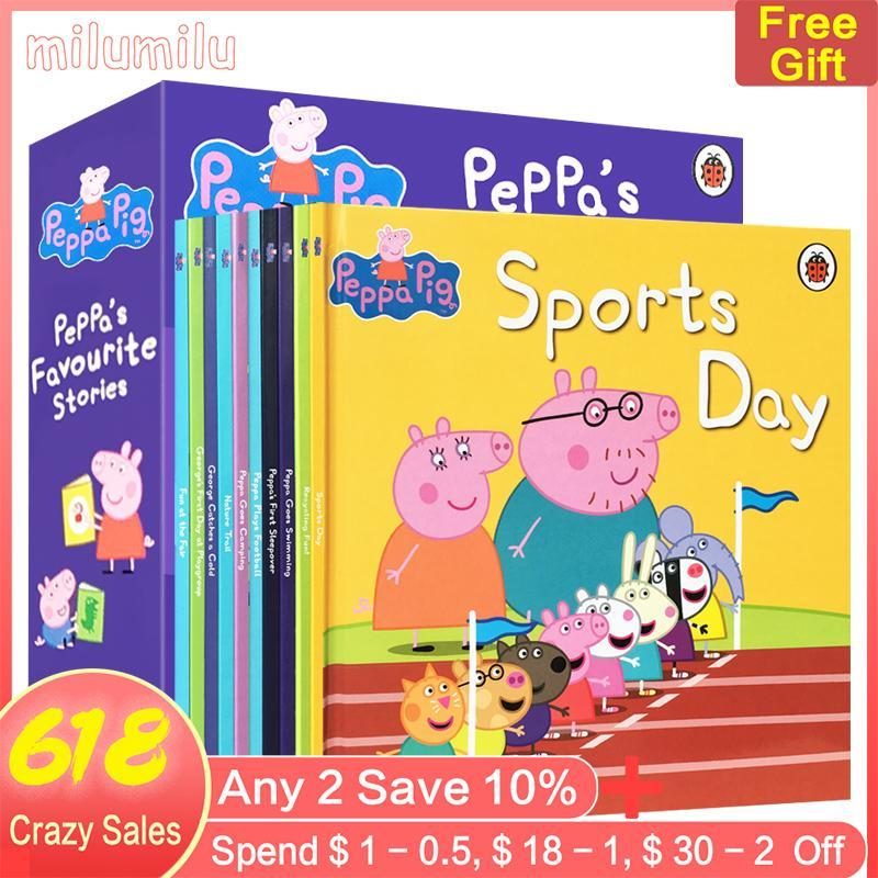 10Pcs Peppa Pig Favourite Stories 10 Hardcover Picture Books 2-3-6 Years Old Ladybird Childrens Books with Bedtime Stories