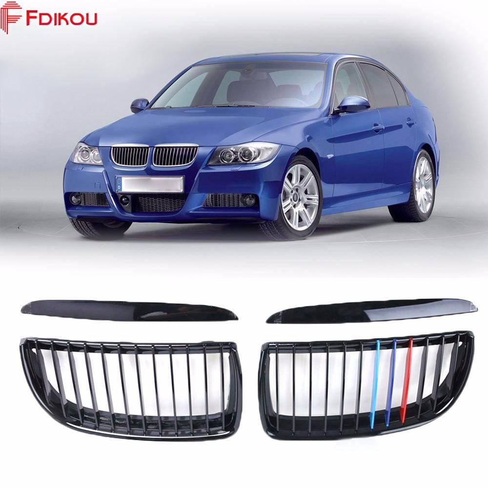 Fdikou 1 Pair For BMW E90 E91 4D Sedan Touring 05-08 Front M-Color Wide  Kidney Grille Grill Gloss Black Kidney Grille Front Bumper