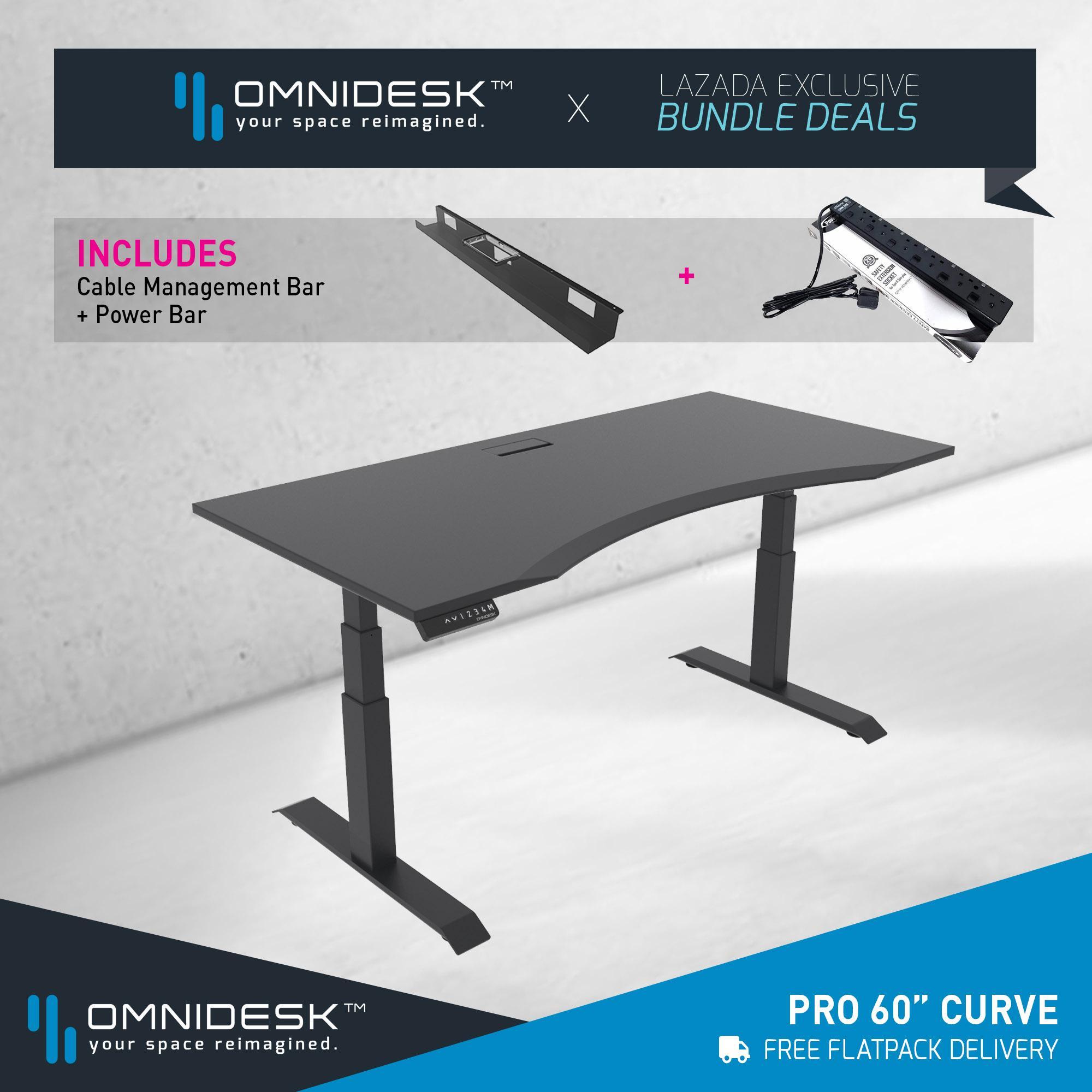 Omnidesk PRO - Black 60  Curved Edge + Omnidesk Black Pro Dual-Motor Frame