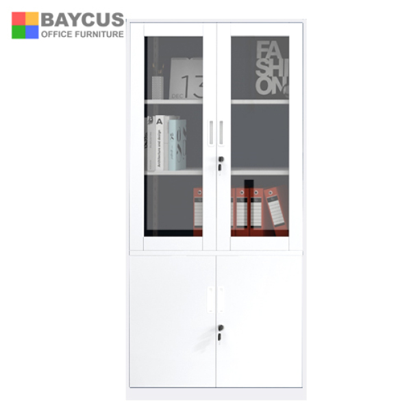 (Ready Stock) White Coloured Metal Cabinet  FC-H2 Full Height Swing & Glass Door Cabinet  Steel Cupboard with Tampered Glass Swing Door