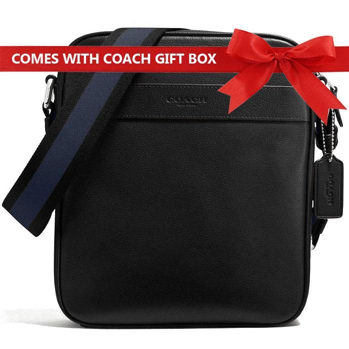 45db670f1138 Coach Men Charles Flight Bag In Smooth Leather Men Crossbody Bag Black    F54782