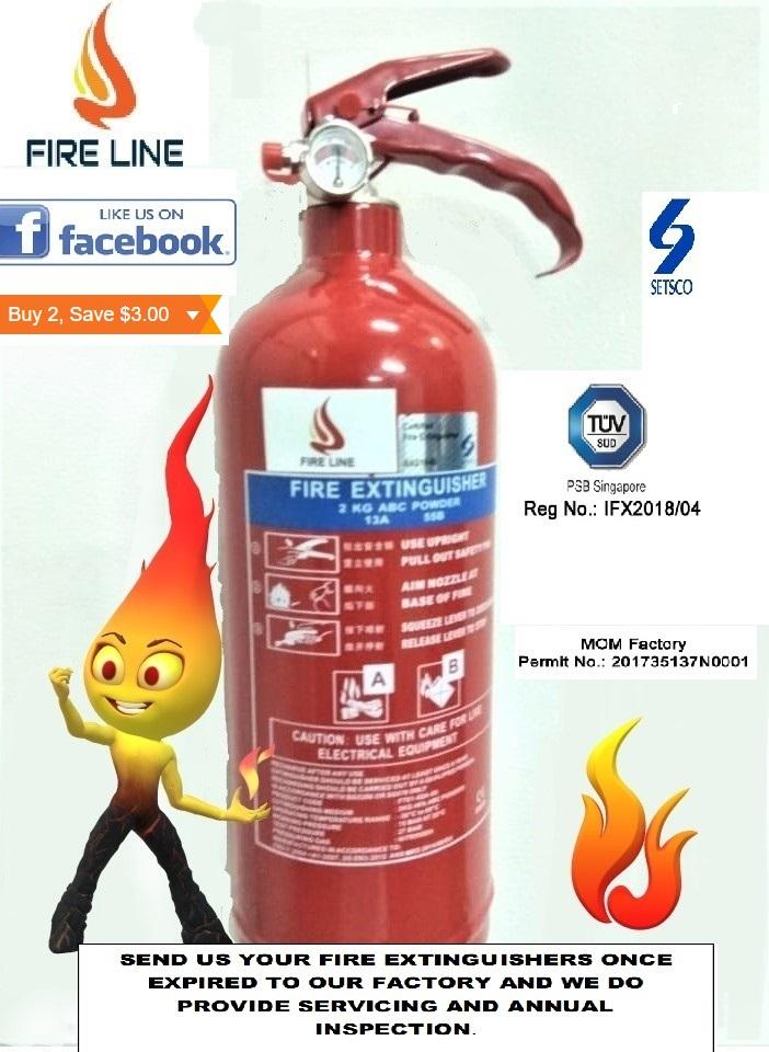 2KG SG Approved ABC Dry Powder Fire Extinguisher ( With Two Year Warranty)