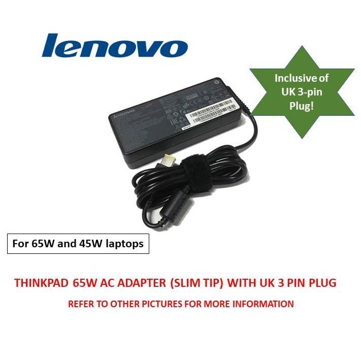 ThinkPad 65W AC Adapter (Rectangular Tip) with UK 3 pin Plug (Original)