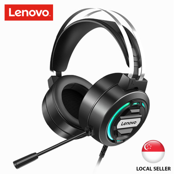Lenovo H401 Head-mounted Wired Gaming Headset Headphone with Cool Lighting Professional 50mm Gaming Speaker Highly Sensitive Microphone